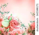 Stock photo bouquet of pink roses floral background 162188171