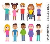 cute cartoon group of children. ... | Shutterstock .eps vector #1621891837