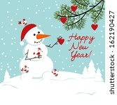 snowman with birds and heart.... | Shutterstock .eps vector #162190427