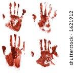 bloody handprints on paper | Shutterstock . vector #1621912