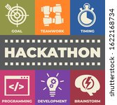 hackathon concept with icons... | Shutterstock . vector #1622168734