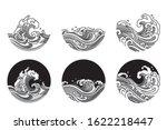 water wave line art vector... | Shutterstock .eps vector #1622218447