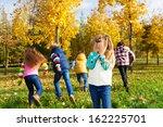 kids playing hide and seek in... | Shutterstock . vector #162225701