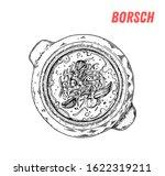 russian borscht soup hand drawn ... | Shutterstock .eps vector #1622319211