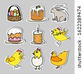 set easter stickers in doodle... | Shutterstock .eps vector #1622389474