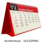 desk calendar 2014 september | Shutterstock .eps vector #162239981