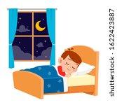 happy cute little kid boy sleep ... | Shutterstock .eps vector #1622423887