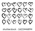 Hand Drawn Brush Hearts. Set O...