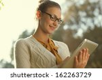 closeup of young smart woman... | Shutterstock . vector #162263729