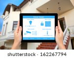 female hands hold a tablet... | Shutterstock . vector #162267794