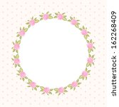 vintage floral round frame with ... | Shutterstock . vector #162268409