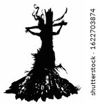 The Silhouette Of A Witch With...