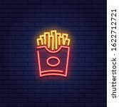 vector neon french fries icon.... | Shutterstock .eps vector #1622712721