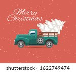 truck carries christmas tree...   Shutterstock .eps vector #1622749474