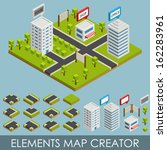Isometric elements map creator. City
