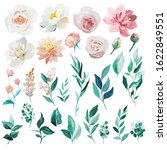 blush and mint floral element... | Shutterstock . vector #1622849551
