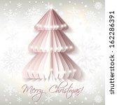 white origami christmas tree ... | Shutterstock .eps vector #162286391