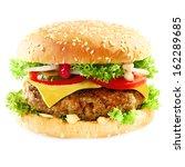 close up of a tasty hamburger...   Shutterstock . vector #162289685