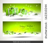 Set Of Two Green Horizontal...