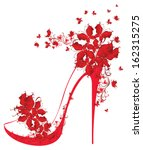 Shoes on a high heel decorated with butterflies. Vector illustration.