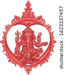red ganesha hindu god of... | Shutterstock .eps vector #1623237457