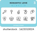 romantic love outline icons...