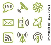 communication icons  green line ... | Shutterstock .eps vector #162343415