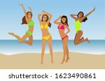 four happy girls in colorful... | Shutterstock .eps vector #1623490861