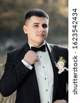 groom in a suit with a bow tie... | Shutterstock . vector #1623542434