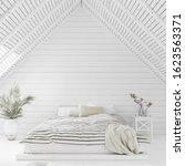 White Bedroom Interior In Atti...