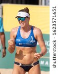 Small photo of KUALA LUMPUR, MALAYSIA-MAY 01: Amanda Dowdy of USA reacts after winning a point during Day 1 of FIVB Port Dickson Beach Open on May 01, 2019 at Port Dickson in Kuala Lumpur, Malaysia