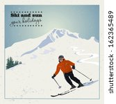 mountain skier slides from the... | Shutterstock .eps vector #162365489