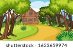 scene with wooden cottage in...   Shutterstock .eps vector #1623659974