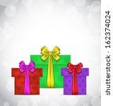 illustration set christmas gift ... | Shutterstock .eps vector #162374024
