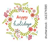 round floral frame in a shape... | Shutterstock .eps vector #162374585