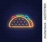 vector neon taco icon template. ... | Shutterstock .eps vector #1623757804