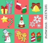 christmas sticker and vector...   Shutterstock .eps vector #162376181