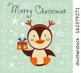 christmas card with cute little ... | Shutterstock .eps vector #162379271