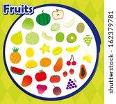 a variety of vector fruits... | Shutterstock . vector #162379781