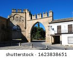 View of the Arco de Villalar with the Puerta de Jaen to the right in the Plaza de Populo, Baeza, Jaen Province, Andalucia, Spain, Western Europe