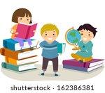 Illustration of Kids Reading Books