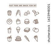 fast food and snack icon set | Shutterstock .eps vector #1623948301
