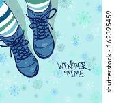 winter illustration with girls...
