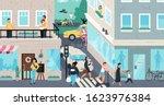 urban street scene  people... | Shutterstock .eps vector #1623976384