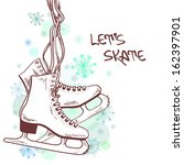 Winter illustration or card with skates