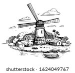 countryside landscape with a...   Shutterstock .eps vector #1624049767