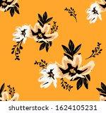 seamless hand draw floral... | Shutterstock . vector #1624105231