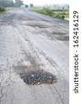 Damaged roads in thailand - stock photo