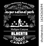 Jasper National Park located in Alberta Canada is home to Pyramid lake, Maligne Canyon and many other stunning natural wonders.  Grunge typography design for travel and tourism makes great signs, post
