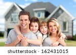 happy family near new home.... | Shutterstock . vector #162431015